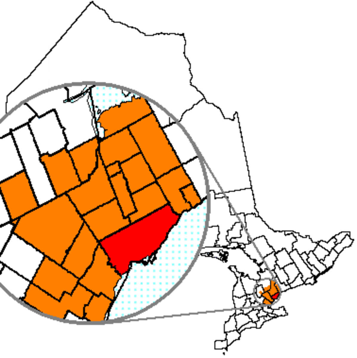 Map location of Toronto, Ontario