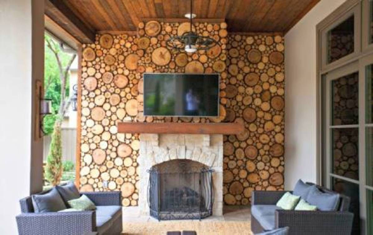 Fill in gaps with smaller wood slices or pieces as desired. The wood slices on the wall and above the fireplace patio outside.
