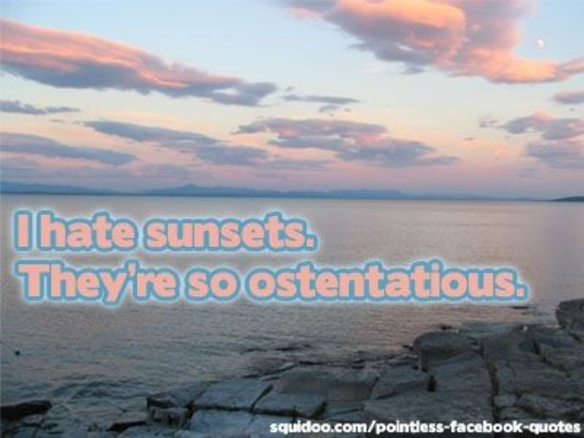 I hate sunsets. They're so ostentatious.