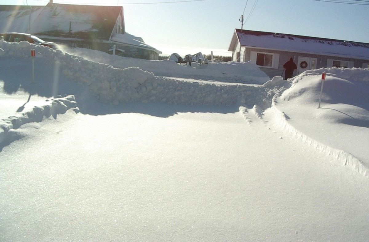 The end of your driveway after the second snowplough pass