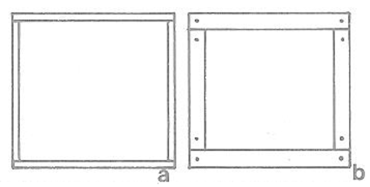 Figure 2a and 2b - Making the Dollhouse Windows