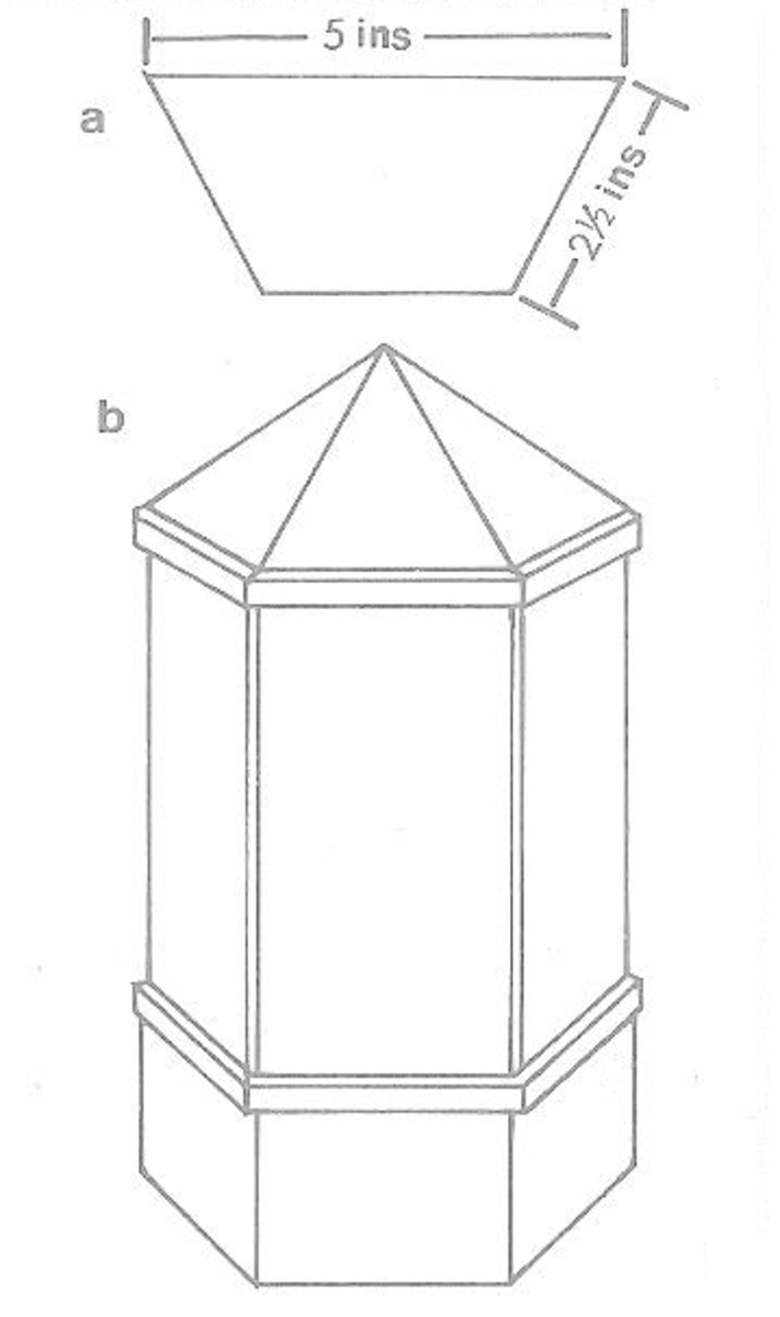 Figure 7a - Base of Dollhouse Canopy and Figure 7b - Assembled Dollhouse Window Canopy