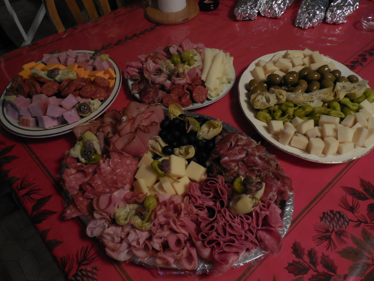Antipastos served on Christmas Eve