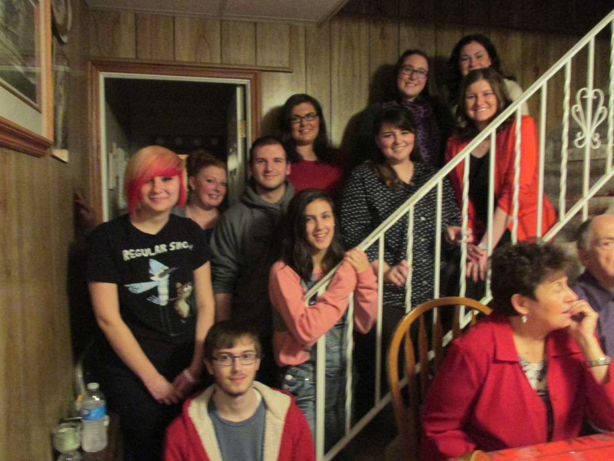 Nieces and nephews visiting on Christmas Eve.