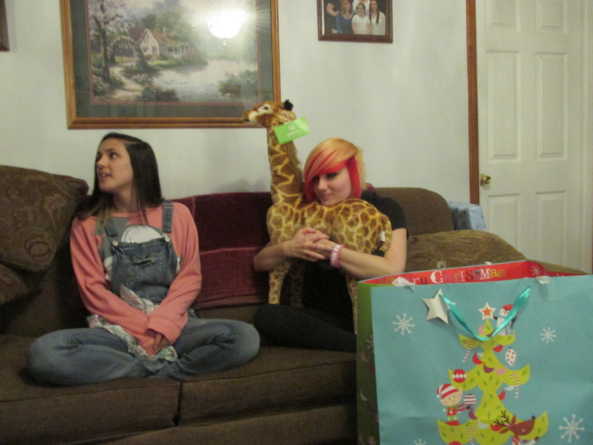 Opening Christmas presents.