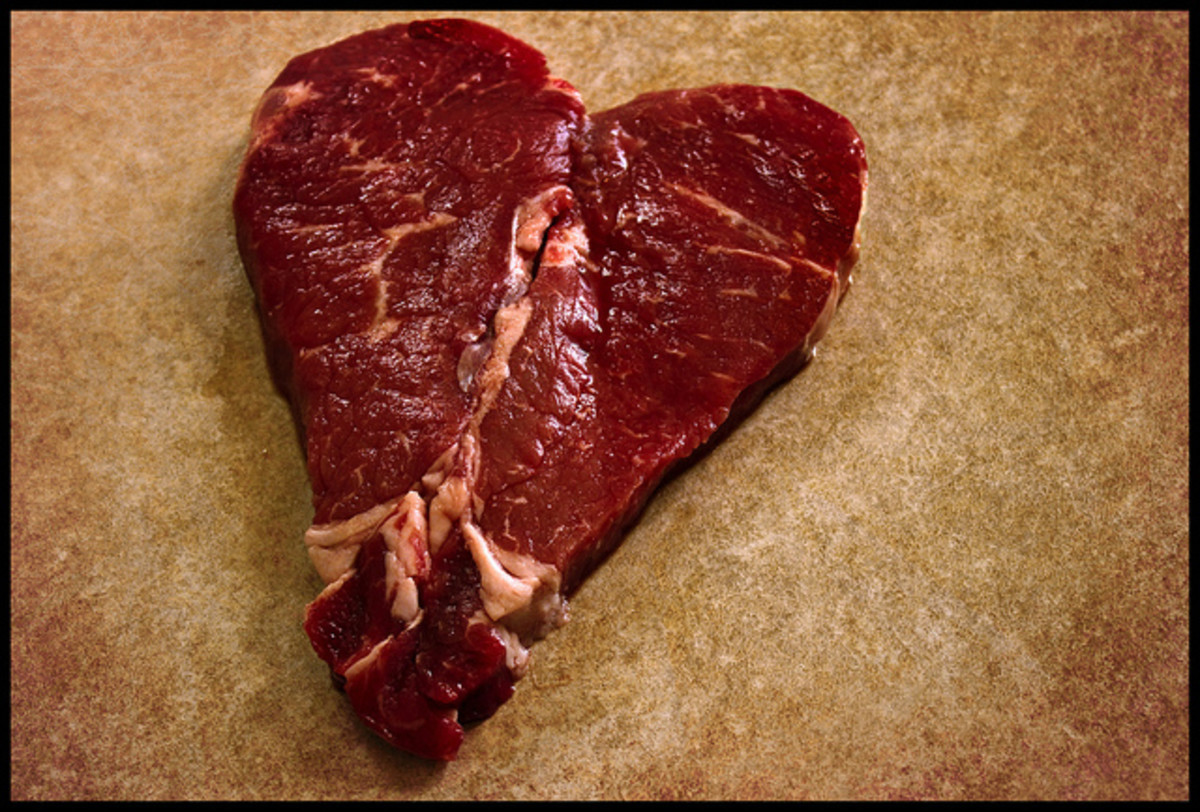 Red meat (beef shown here) can provide for very romantic meals! Try to get your partner to cook the meat for Valentine's Dinner!