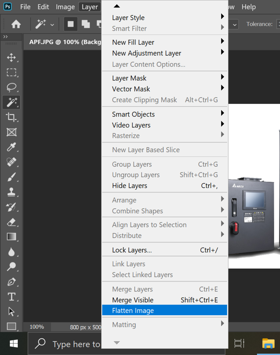 Click on 'Flatten Image' in the Layers drop down menu.