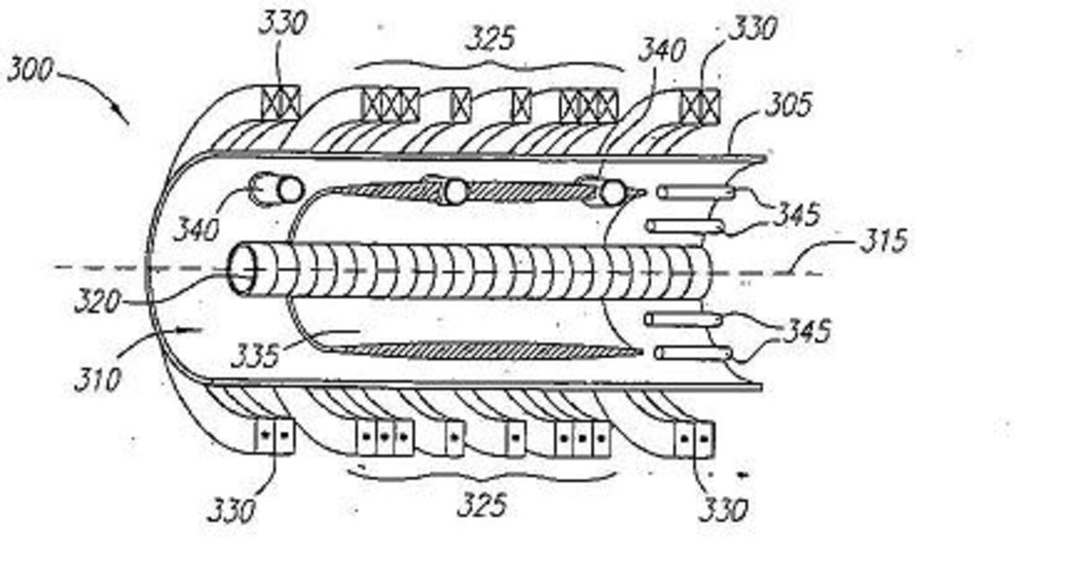 This is a section of a plasma engine taken from a patent file.