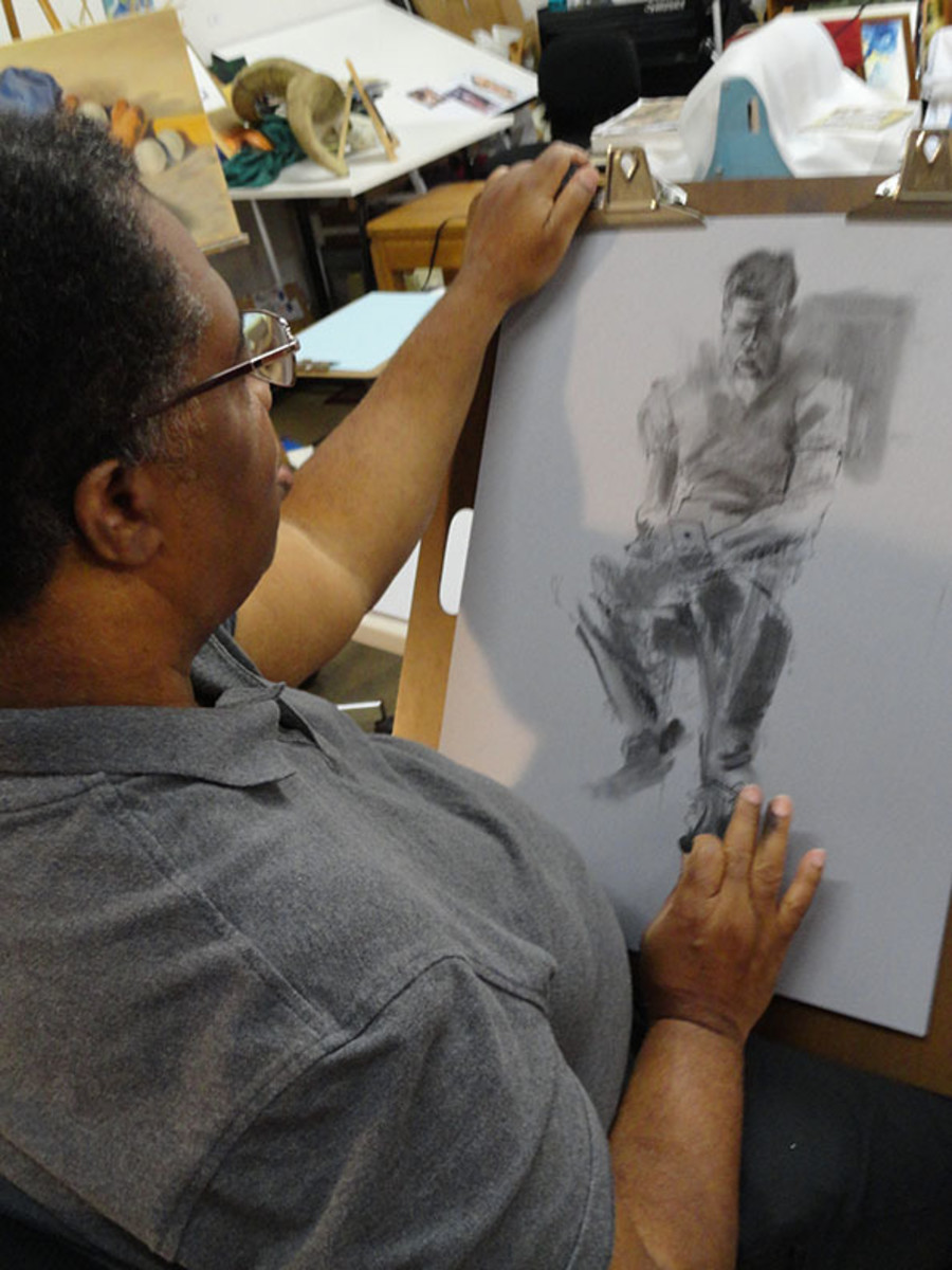 My friend Dennis drawing from a live model
