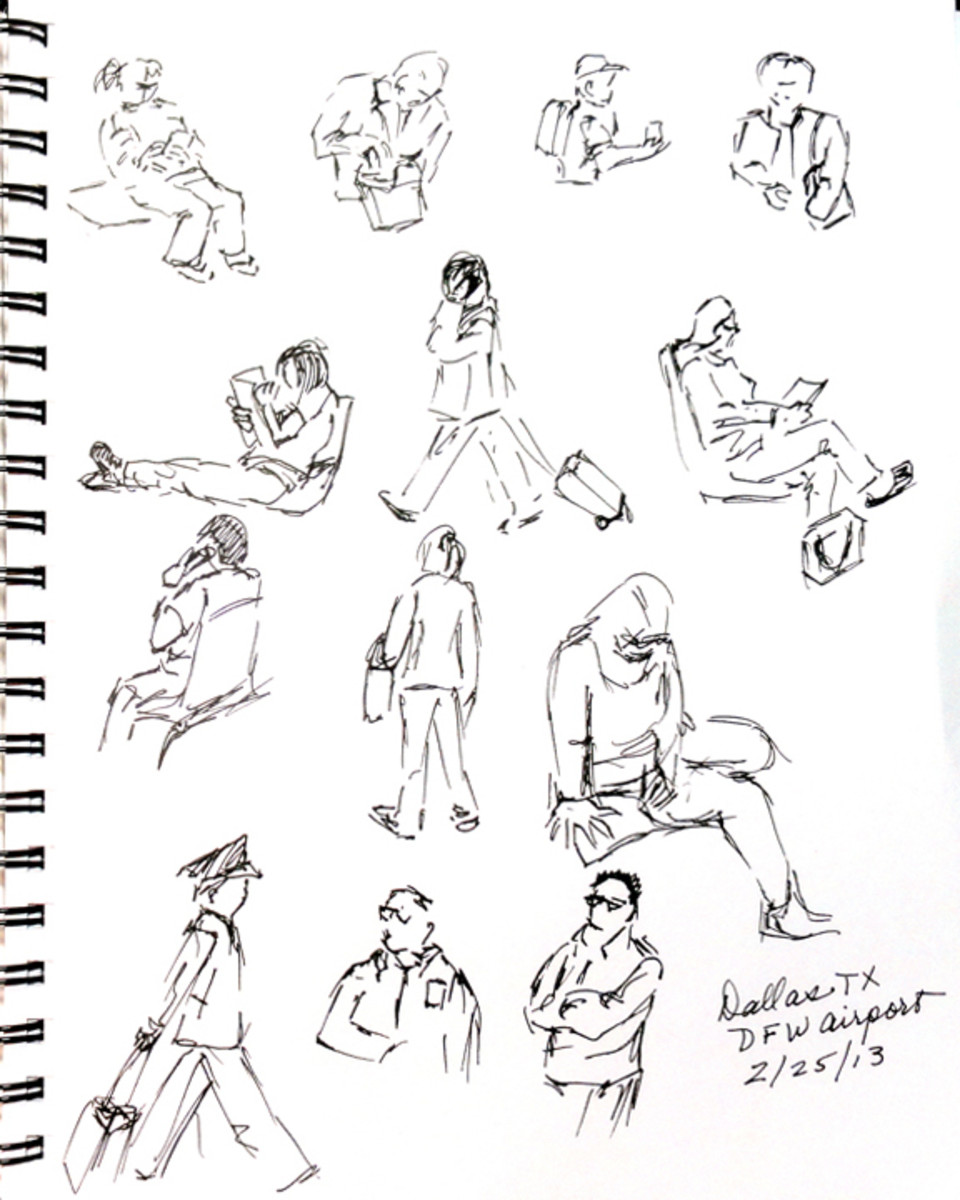 Quick sketches at the Dallas Airport