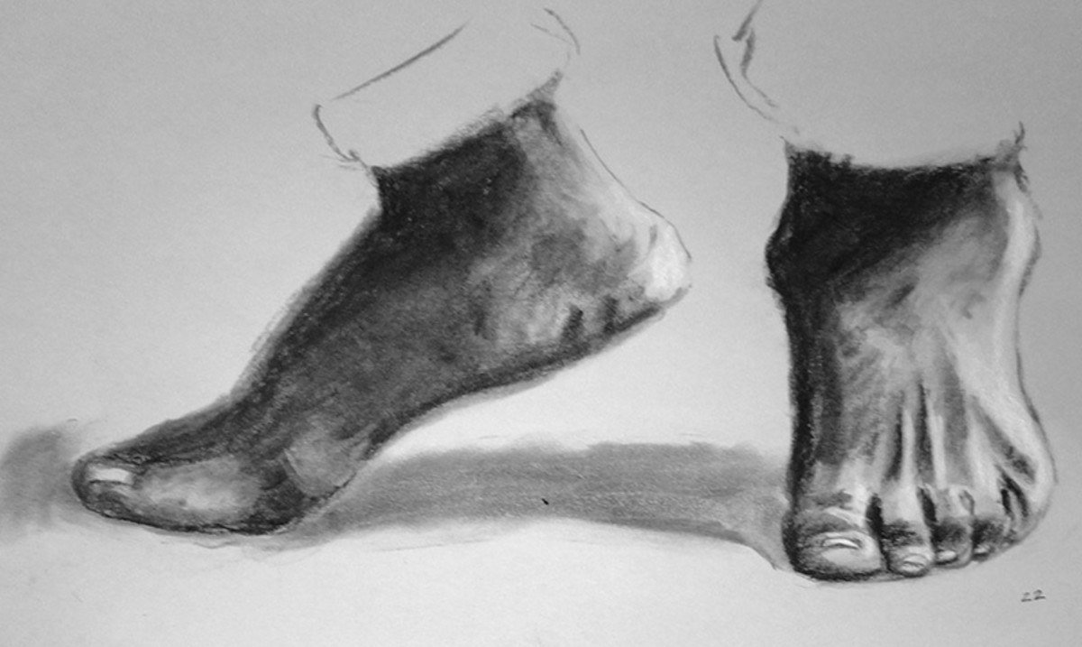 Sketch of feet from a photo