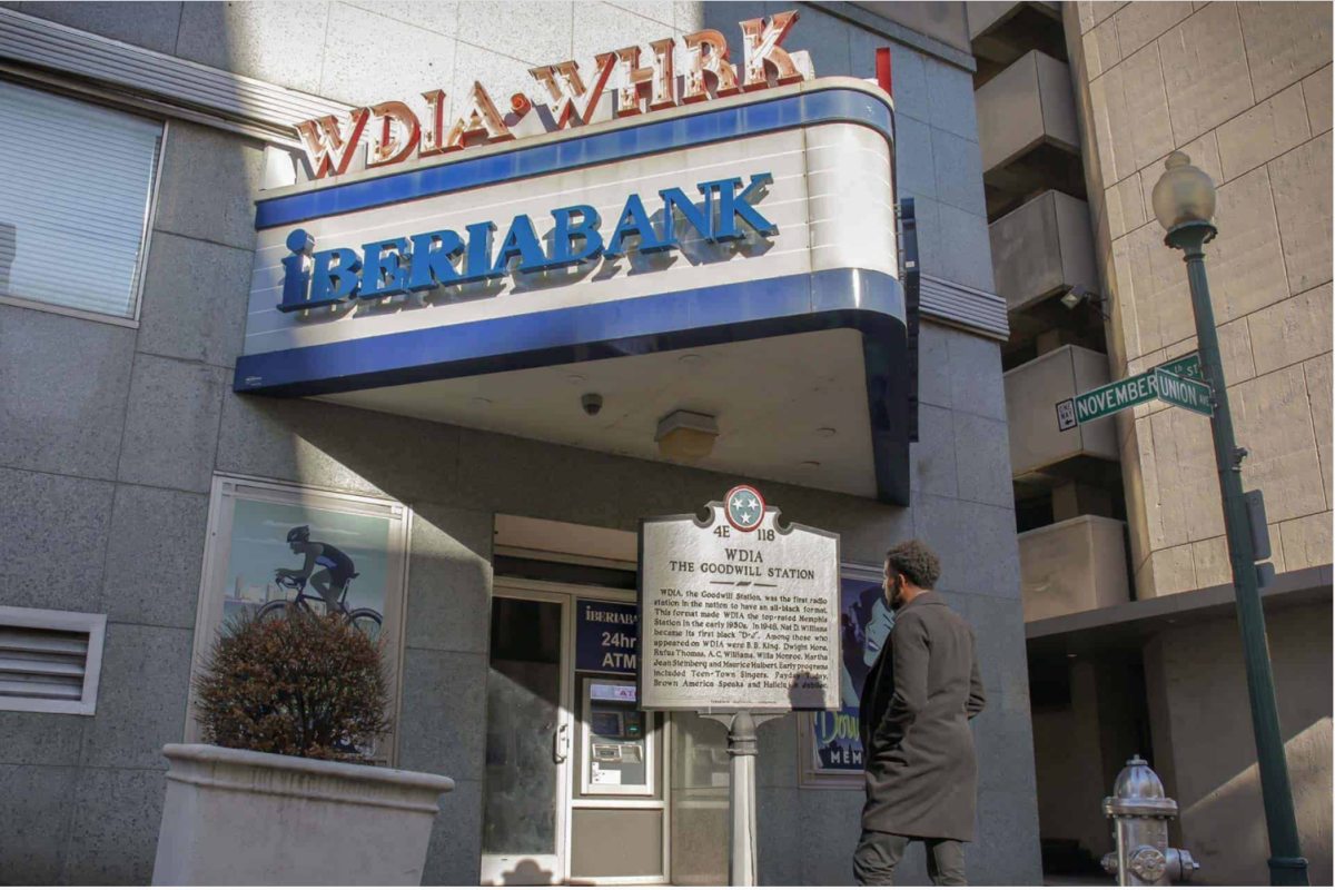 In 1985 WDIA left its location at 112 Union Avenue, near the Main Street intersection, in downtown Memphis.  An identifying neon marker remained to overlook a historical monument honoring the station's community-based goodwill accomplishments.
