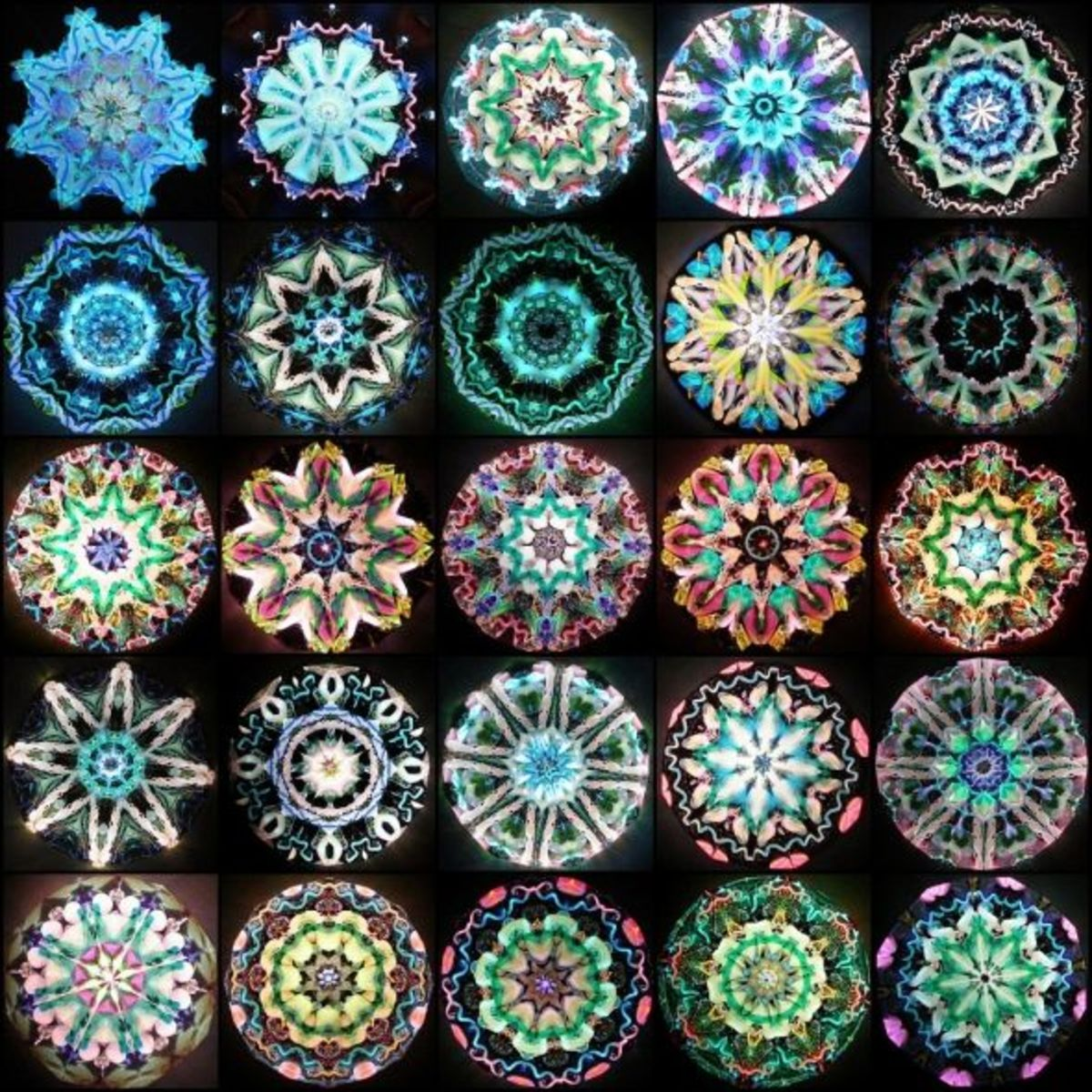 "A Mosaic of Some of My Inside Scope Images with a Link to my Flickr Set: ""All My Kaleidoscope Images"""