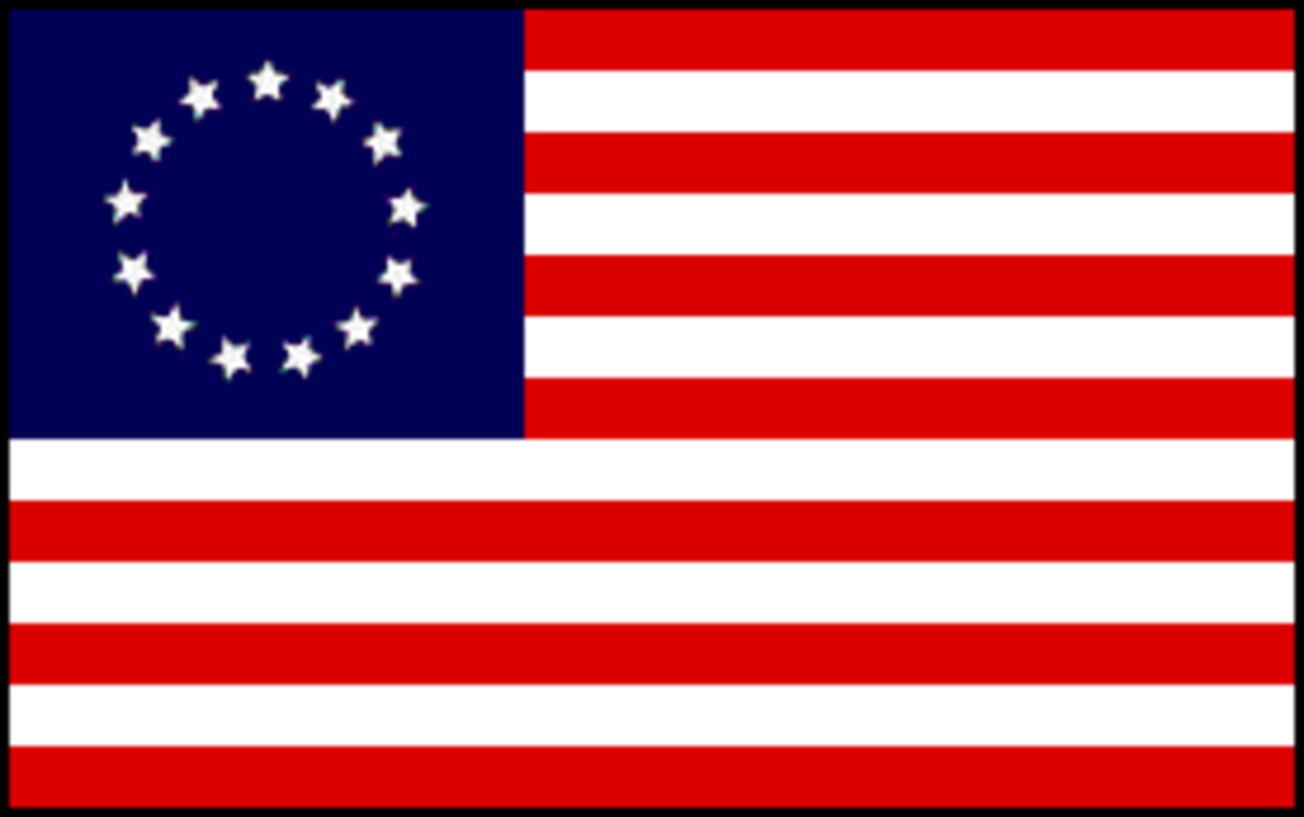 The picture of a 13 star U.S. Flag