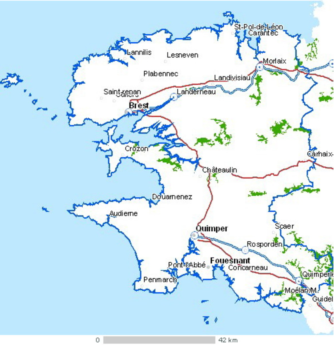 Finistere, Britanny, France: Huelgoat is just north of Carhaix (middle right)