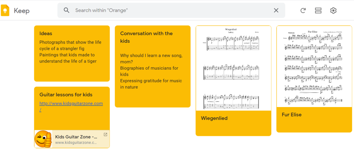 Example to Show How You Can Organize Your Child's Activities By Color Coding Google Keep Notes