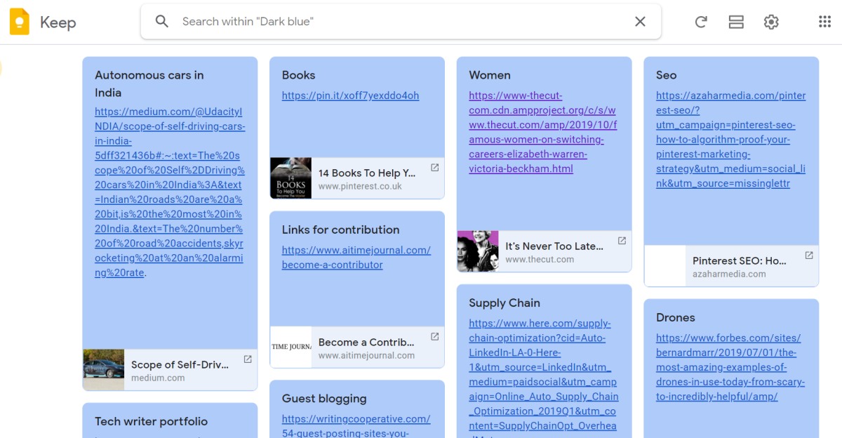 Example to Show How You Can Organize Your Life with Color Coding in Google Keep