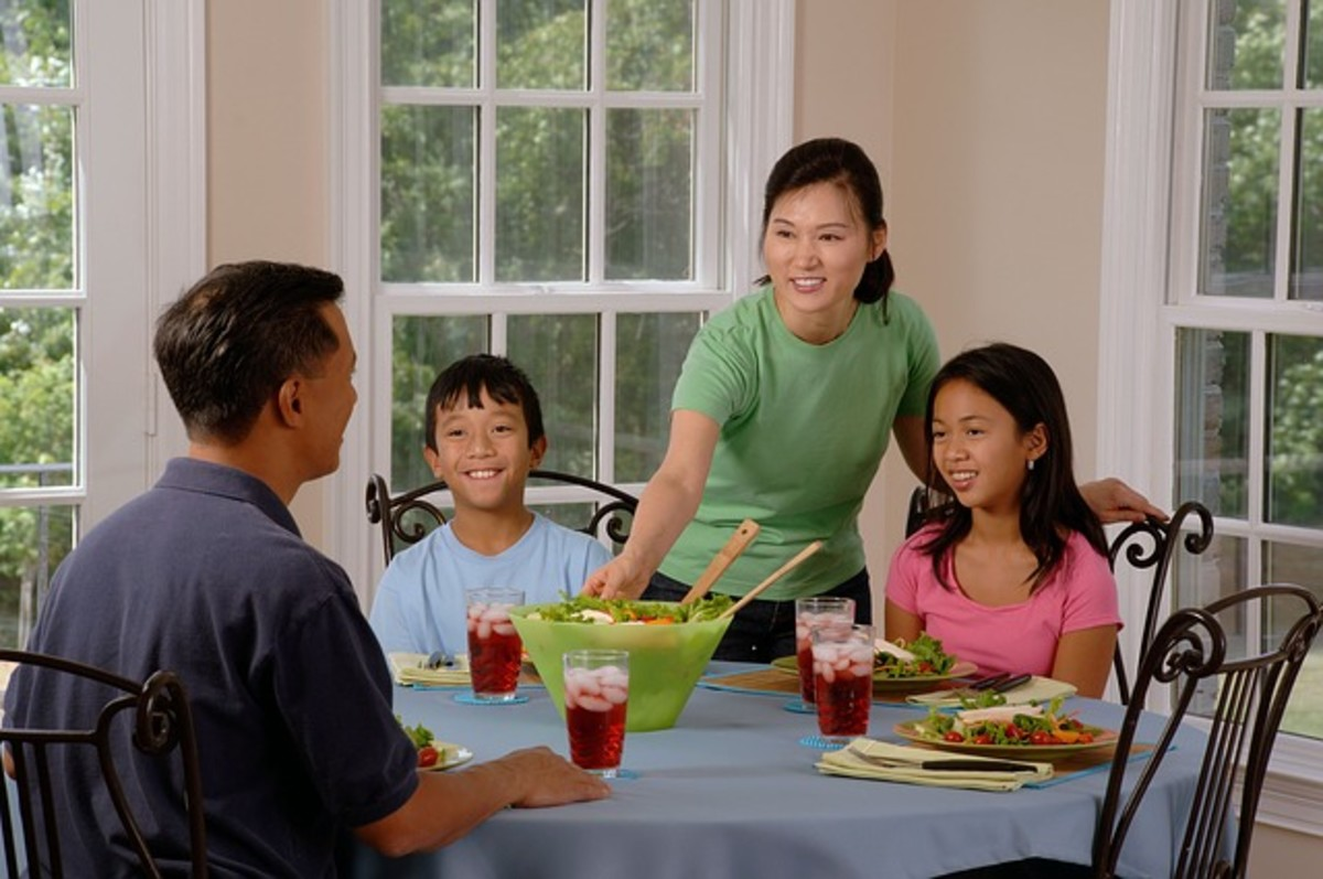 Family eating together at home