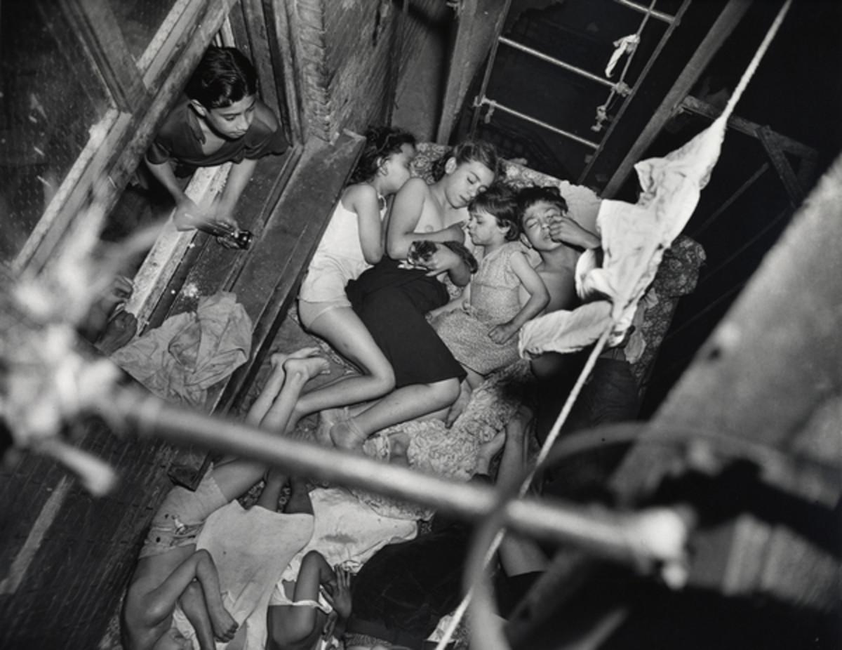 """WEEGEE """"HEATSPELL, CHILDREN SLEEPING ON A FIRE ESCAPE 1938"""""""