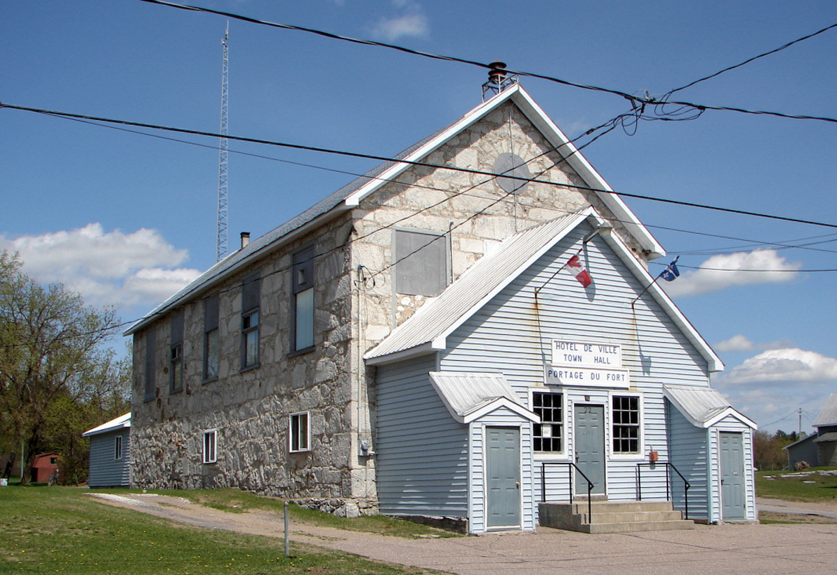 Town hall of Portage-du-Fort, Quebec, Canada
