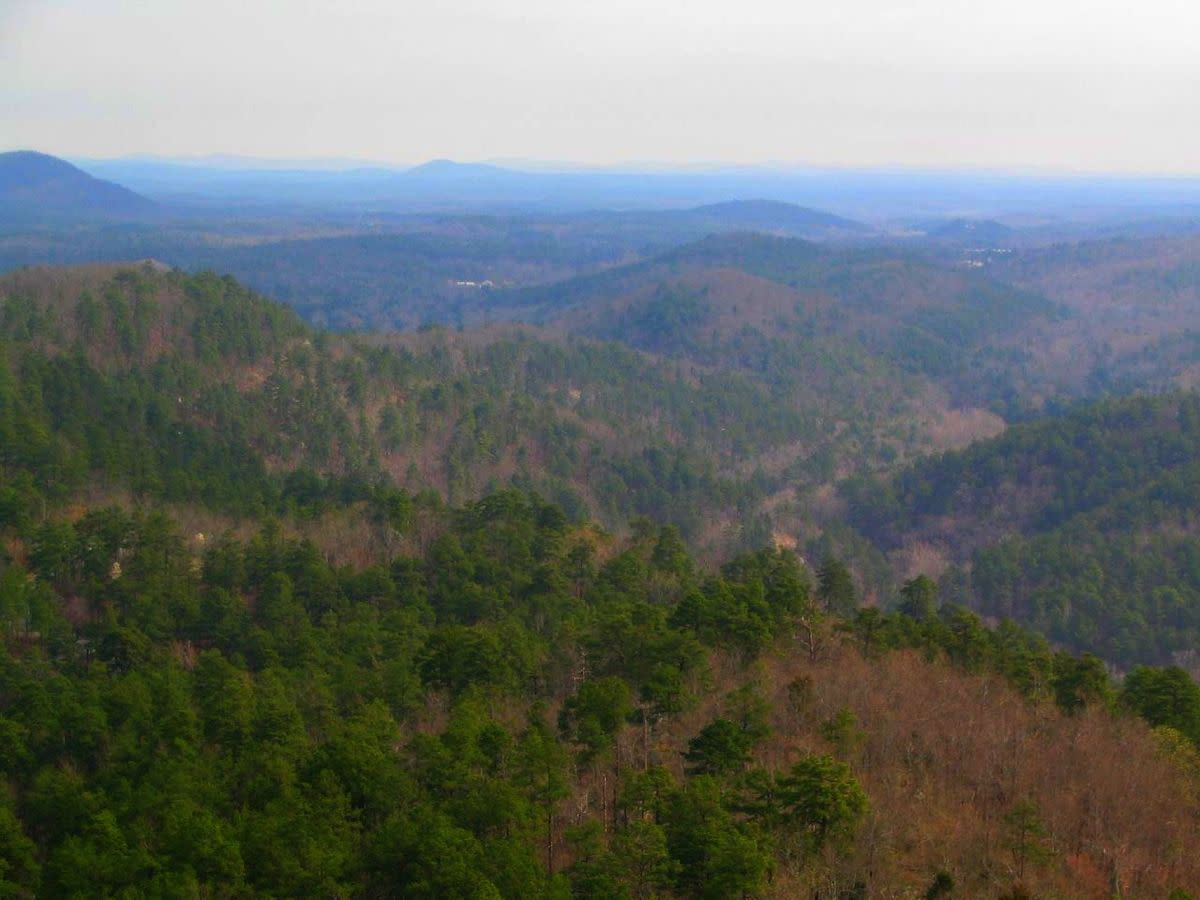 Overlooking the Ouachita Mountains from Hot Springs Mountain Tower, Hot Springs National Park, Hot Springs, Arkansas.