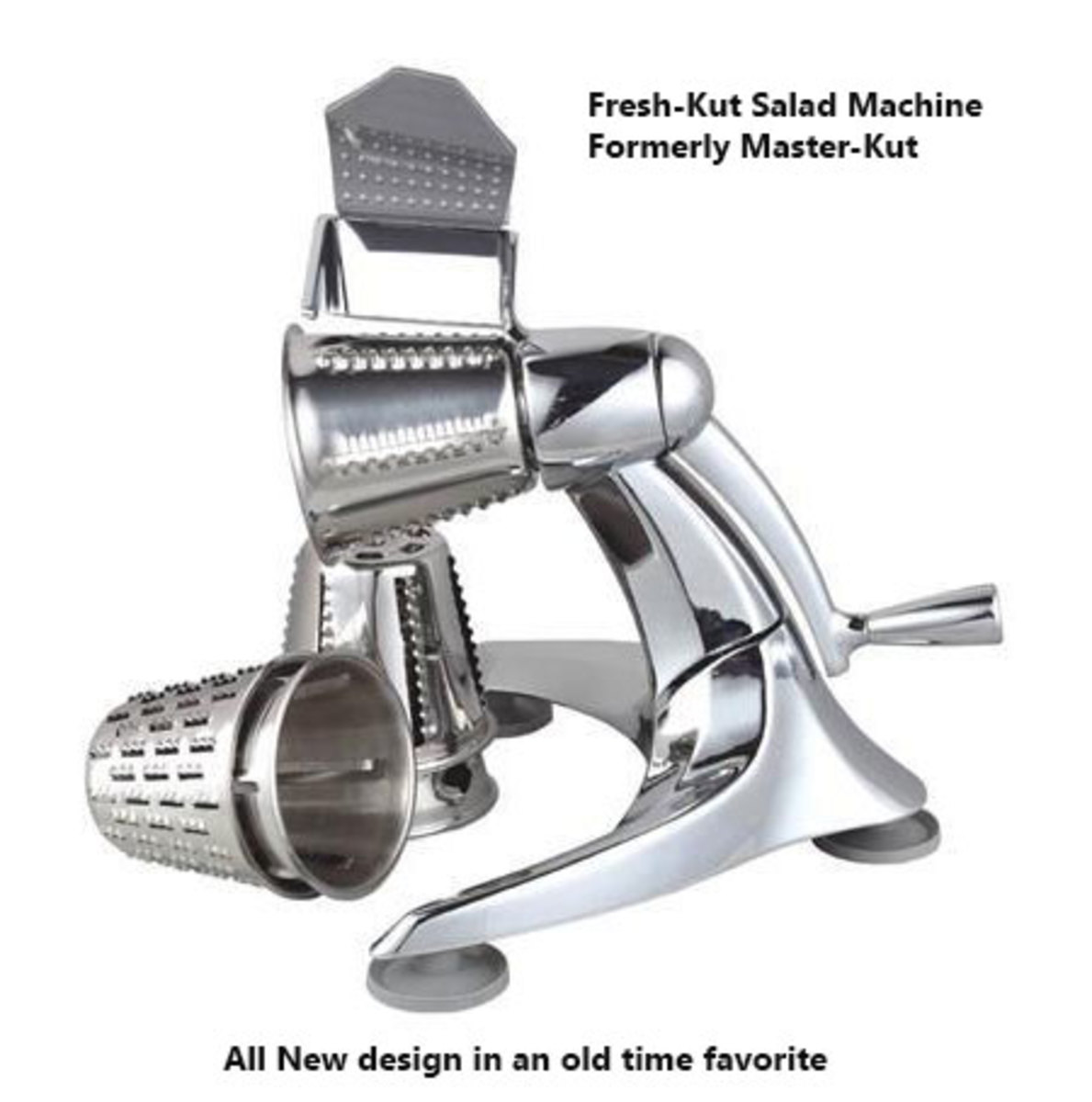 Old fashioned hand crank salad maker makes a large bowl of salad and slaw in short order.  They are easy to use and clean compared to an electric model.