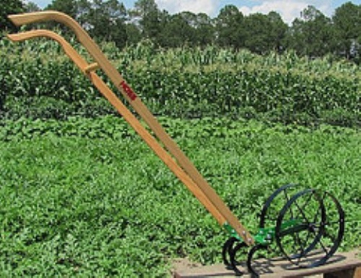 The reproduction of the Pioneer Junior Wheel Hoe is still the Cadillac of hand push cultivators. It is also available at Cottage Craft Works .com