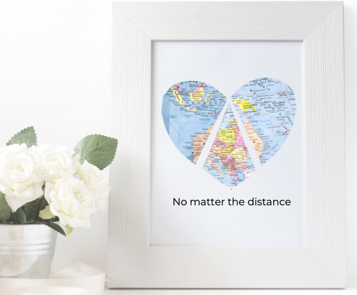"1. ""No Matter the Distance"" Framed Map"