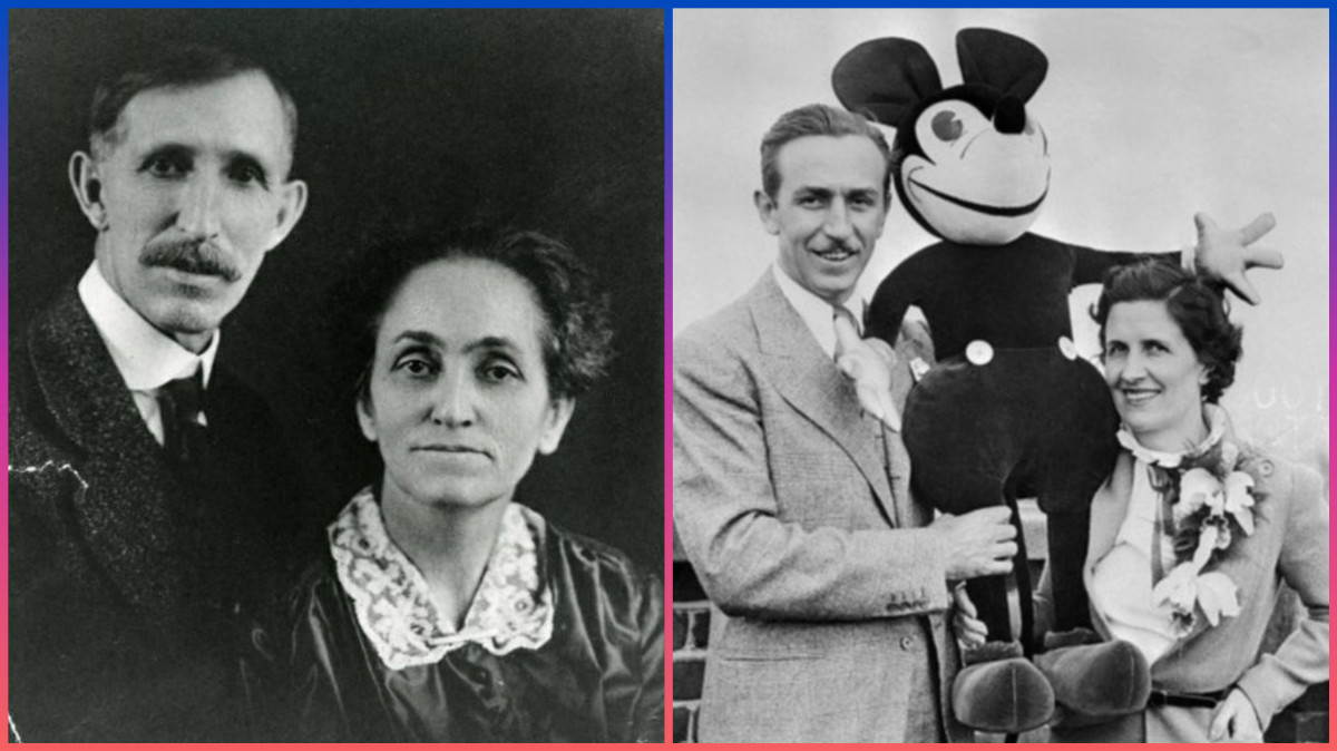 Flora Call Disney, looking so happy to have birthed five children and to be standing next to an overgrown rat... oh, and Mickey Mouse is there too.