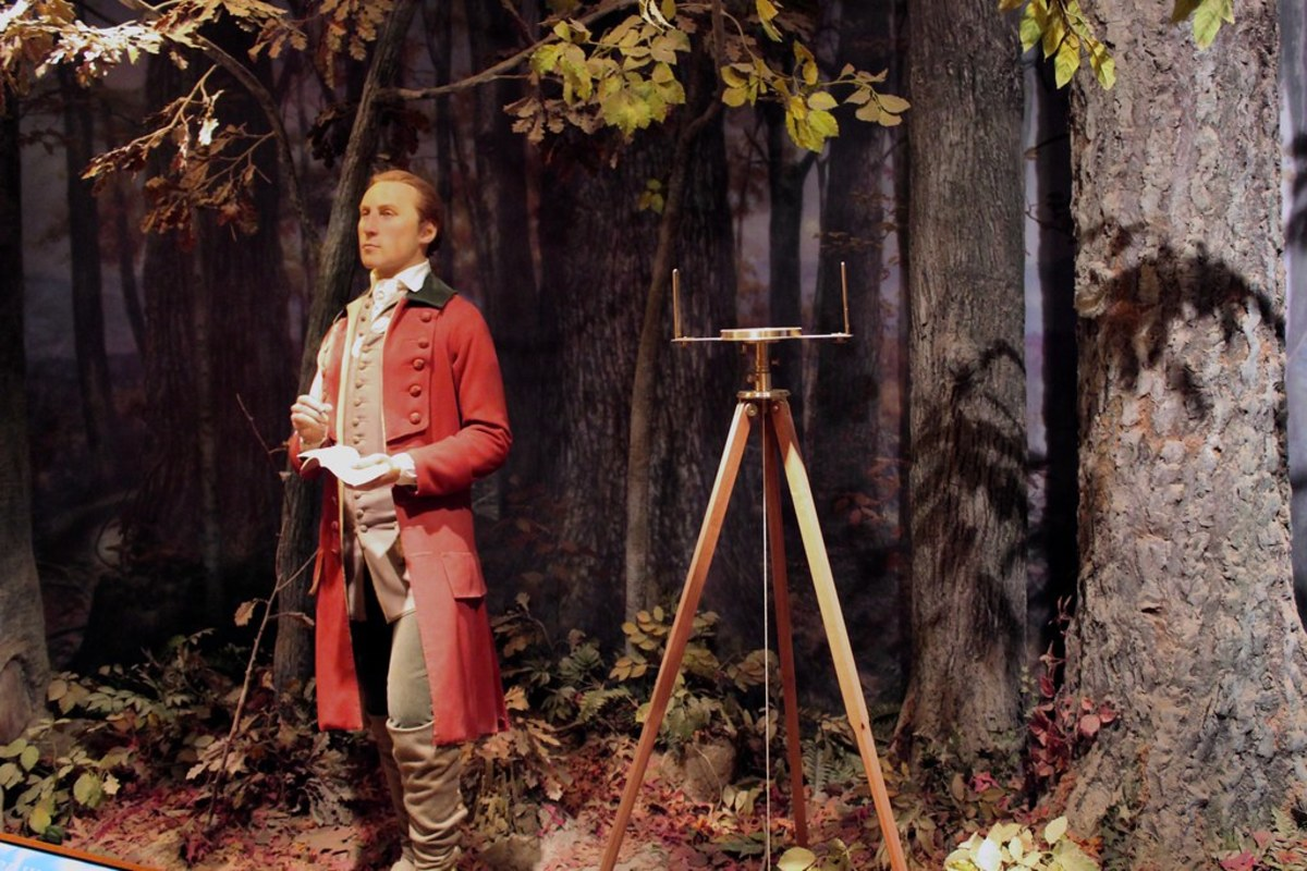 Wax figure of George Washington at age 19, on display at Mount Vernon.