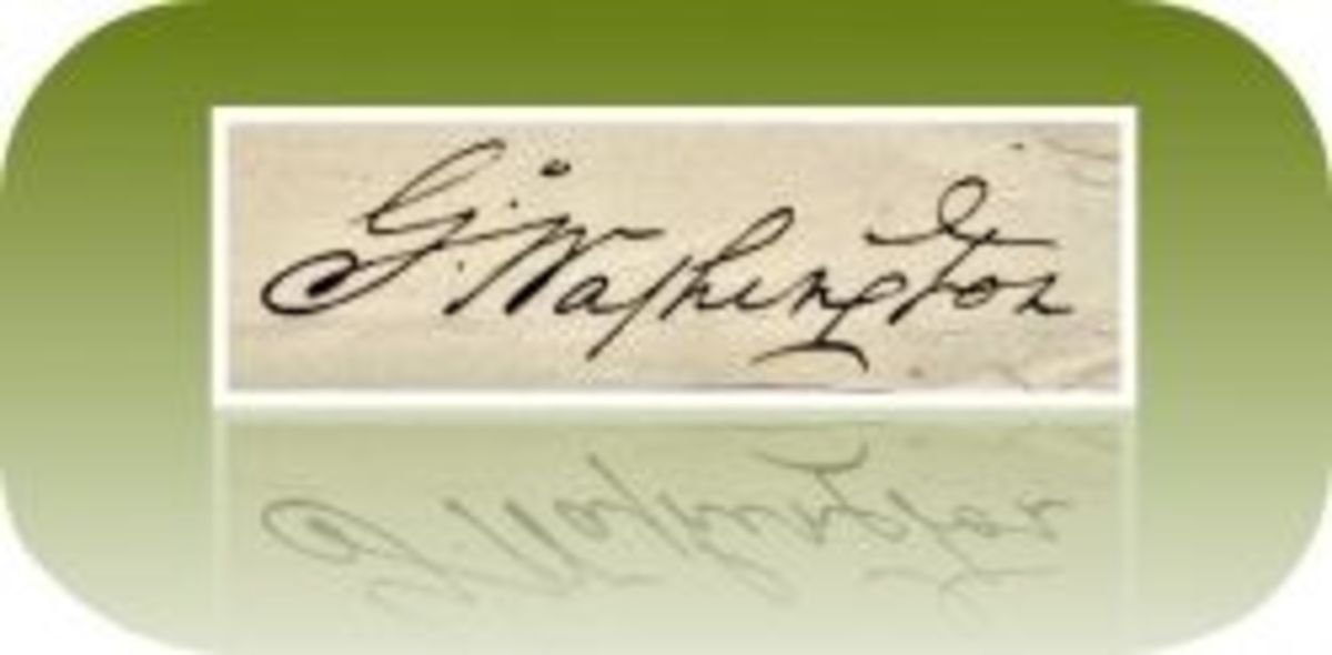 Washington's signature on a letter congratulating Congress for ratifying the Articles of Confederation in 1781, stored in the National Archives.