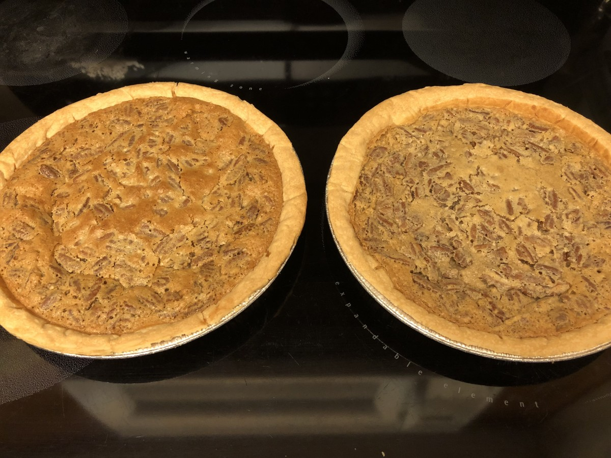 Pecan pies out of the oven
