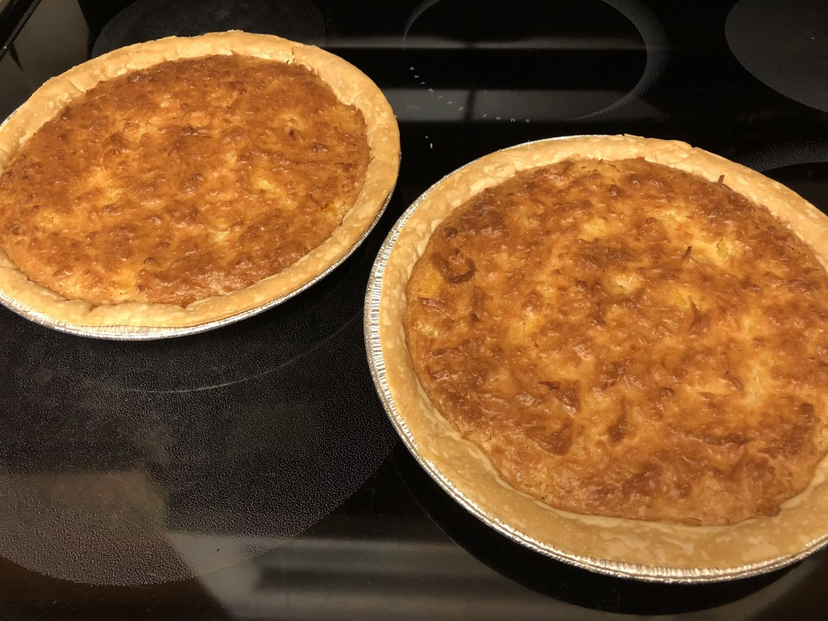 Pineapple coconut pies out of the oven