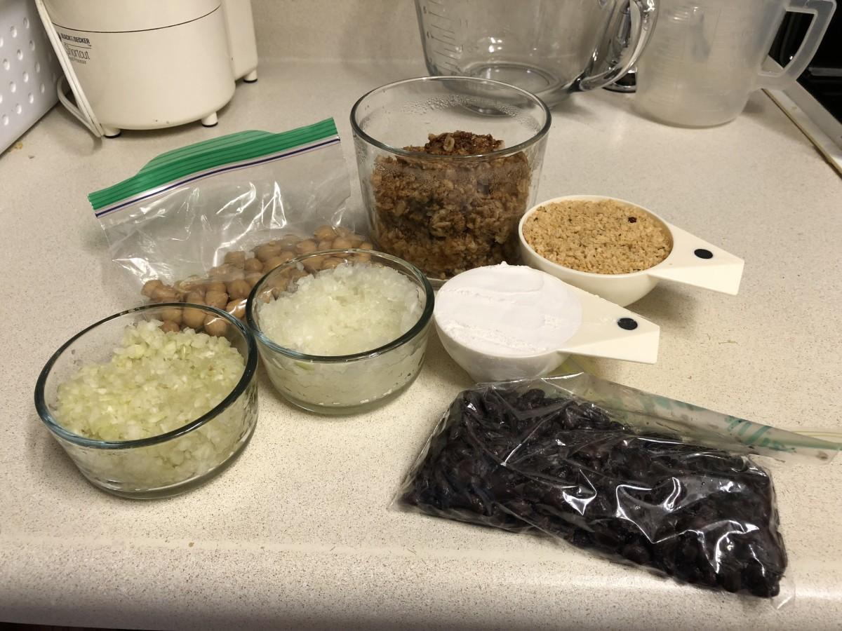 Ingredients for veggie burgers.