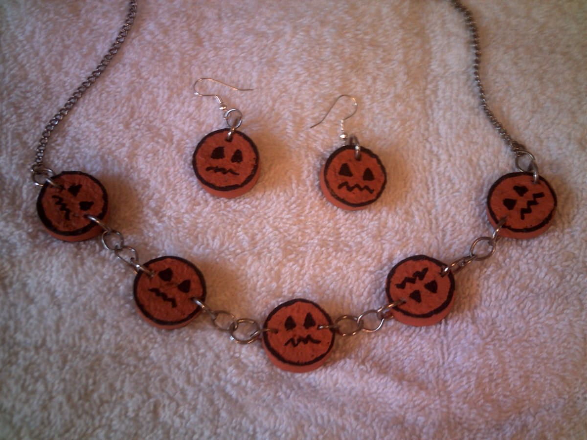 Pumpkin Face Wine Cork Jewelry