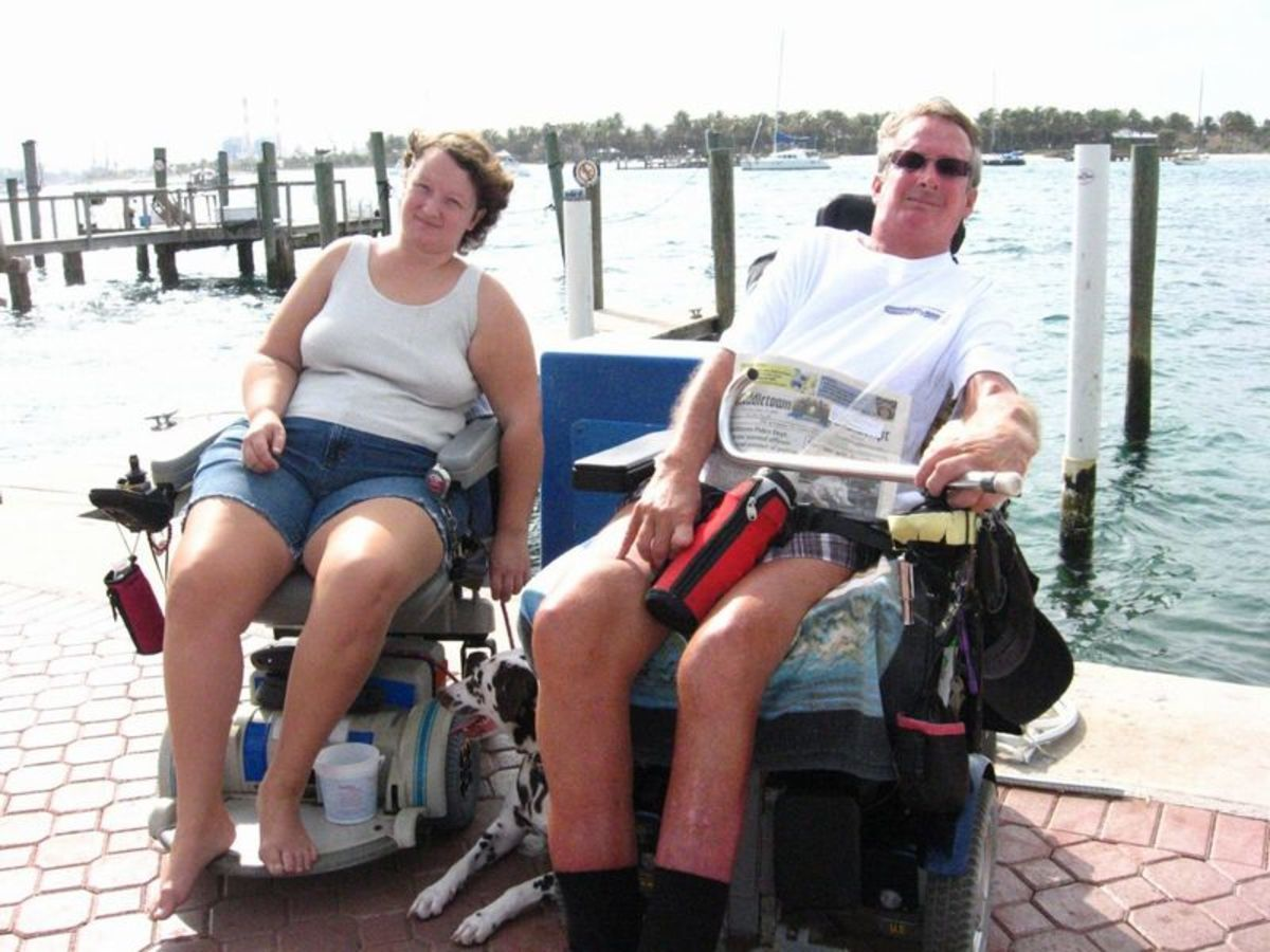 Myself and John enjoying island living in our wheelchairs