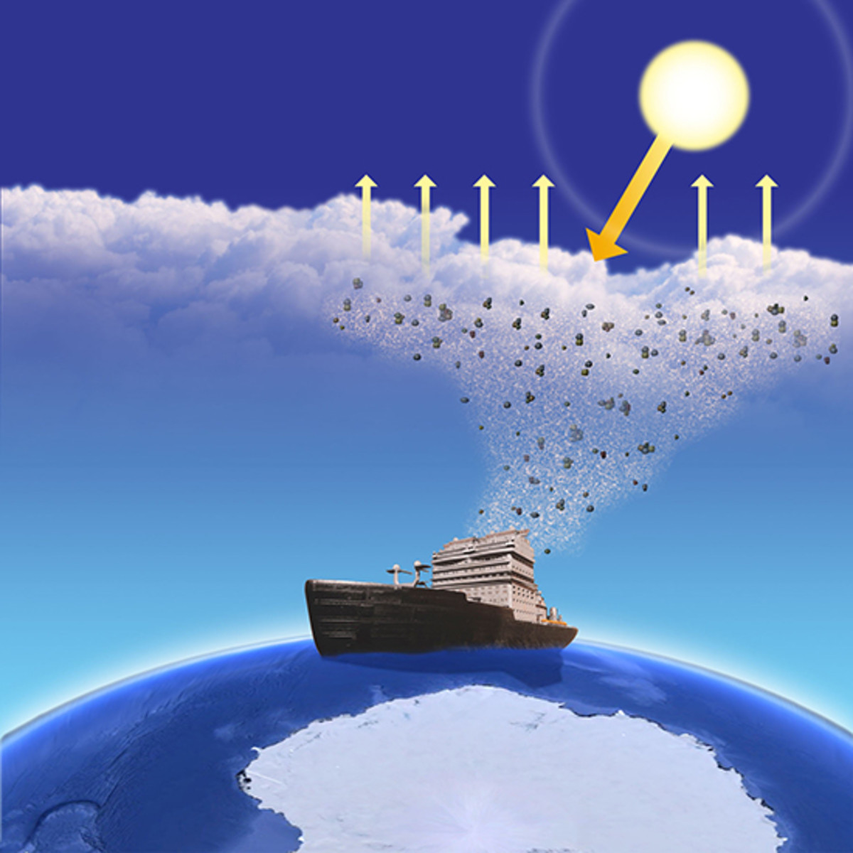 The aerosols are emitted into the atmosphere by large ships.