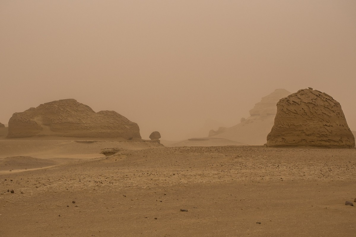 A large sandstorm releasing large quantities of desert dust aerosols into the atmosphere.