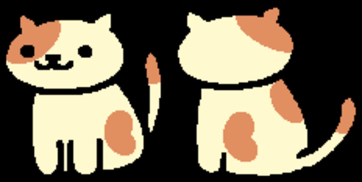 The in-game sprite for Peaches in Neko Atsume