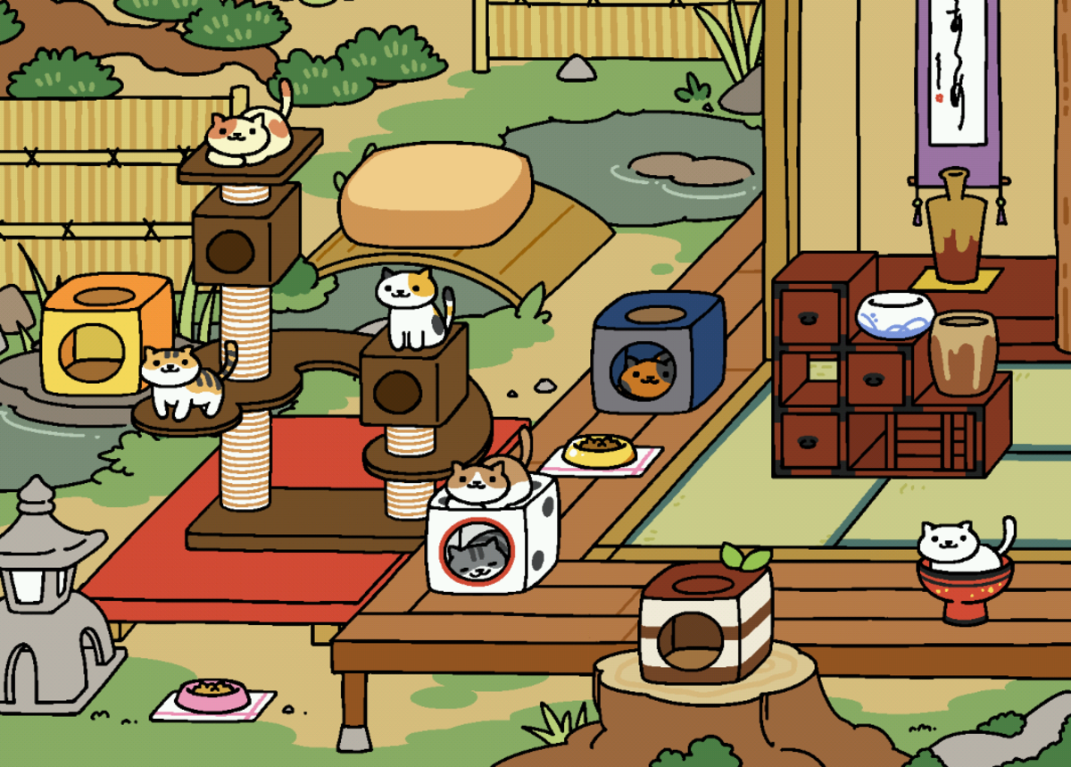 Peaches relaxing at the top of the Cat Metropolis! Uploaded to the Neko Atsume Wikia by user Nekokage.