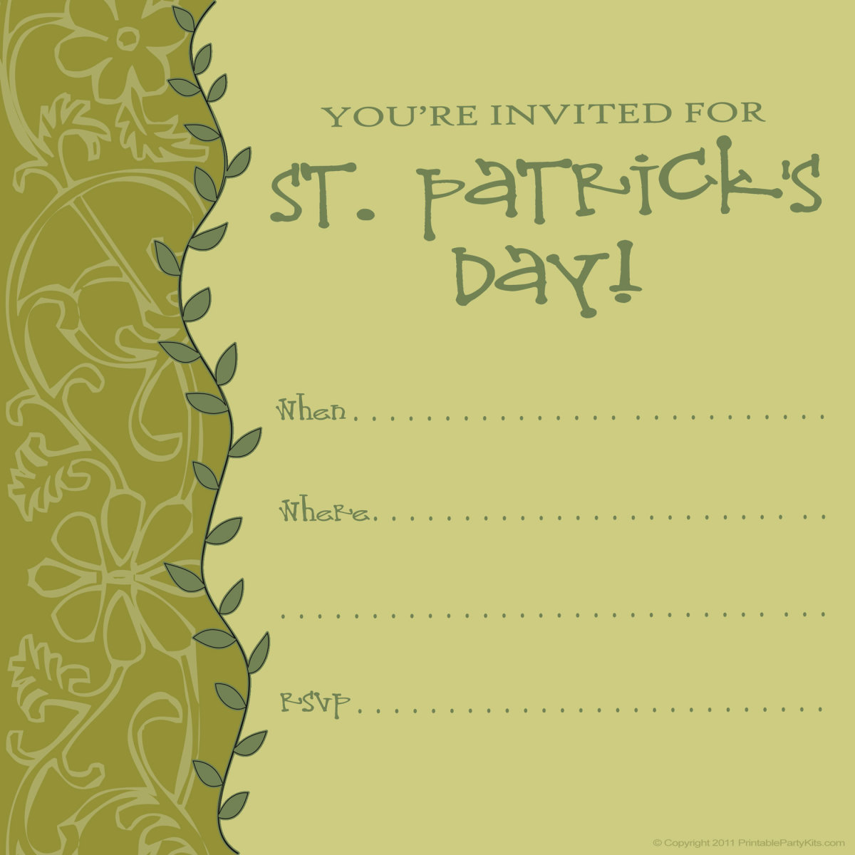 Free printable St. Patrick's Day invitation with leaves and a pattern in shades of green