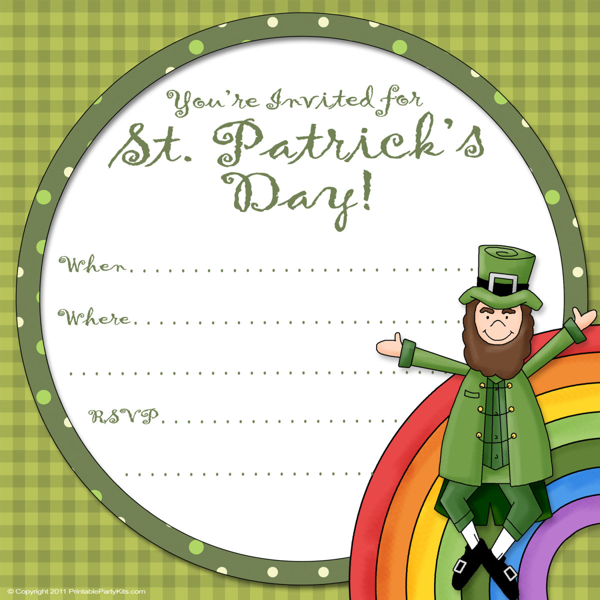 Free printable St. Patrick's Day invitation with green plaid, and a cartoon rainbow and leprechaun