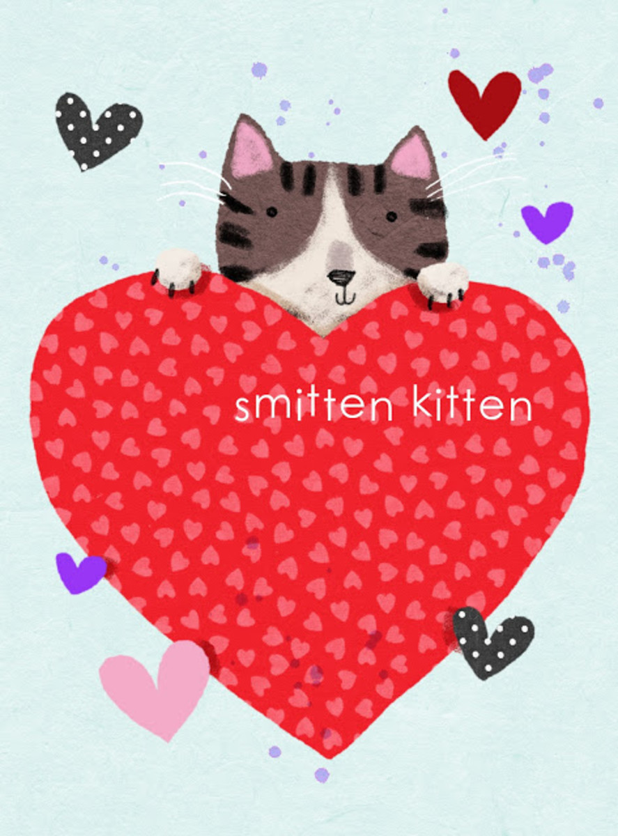 Here's a cute little Smitten Kitten card to give to your sweetheart on February 14th.   I found this on a wonderful site, We Love To Illustrate.com