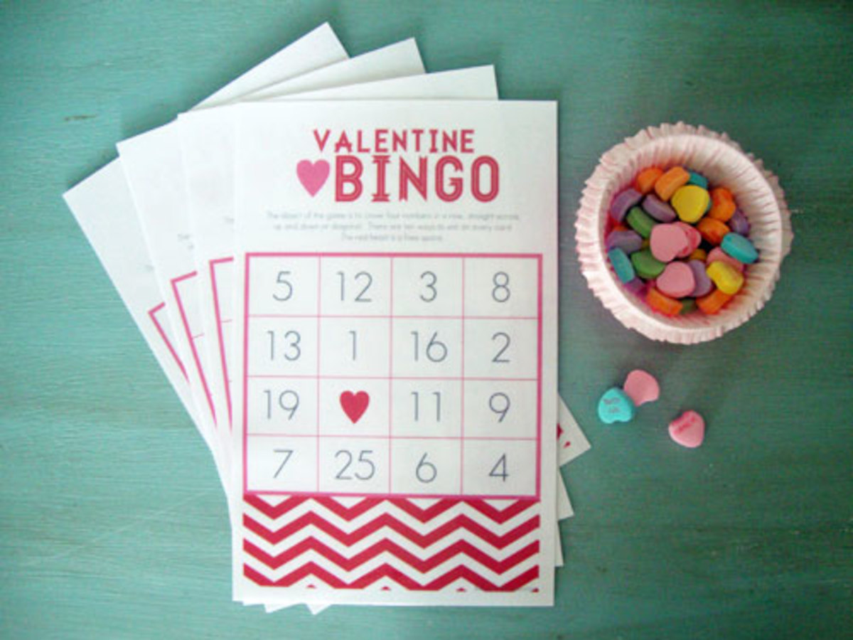 Libbie Grove Designs has some fun Bingo Games for you to print out.  You can also find lots of fun Valentine's Day party ideas there.