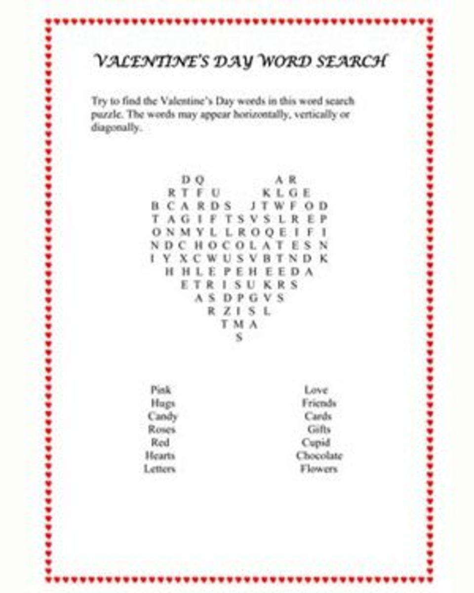 Print out a Heart Shaped Word Search Game at jumpstart.com.  It's a great game to bring to a school class party or to have fun at home with.