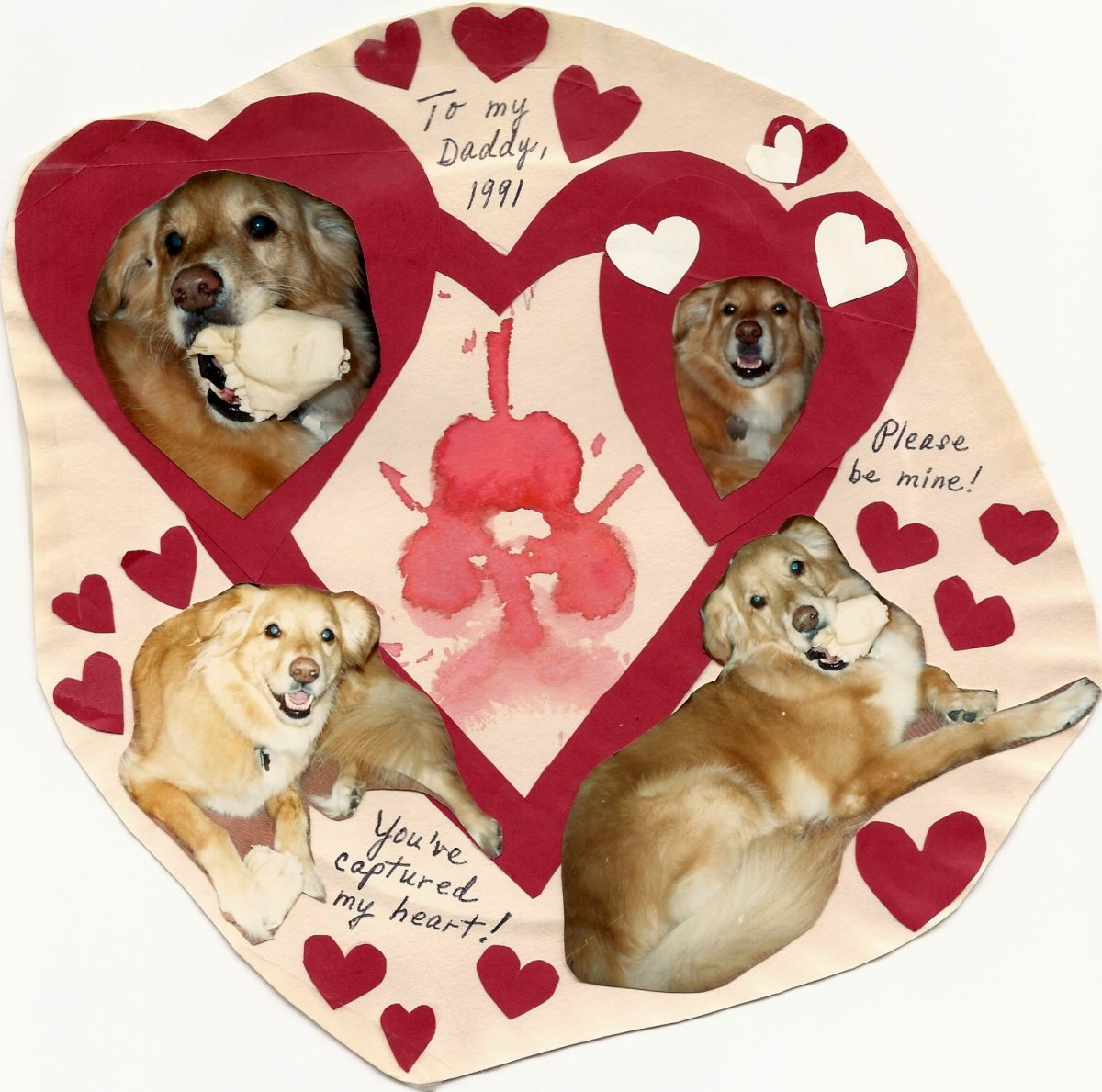 Reggie's Valentine Card with Paw Print