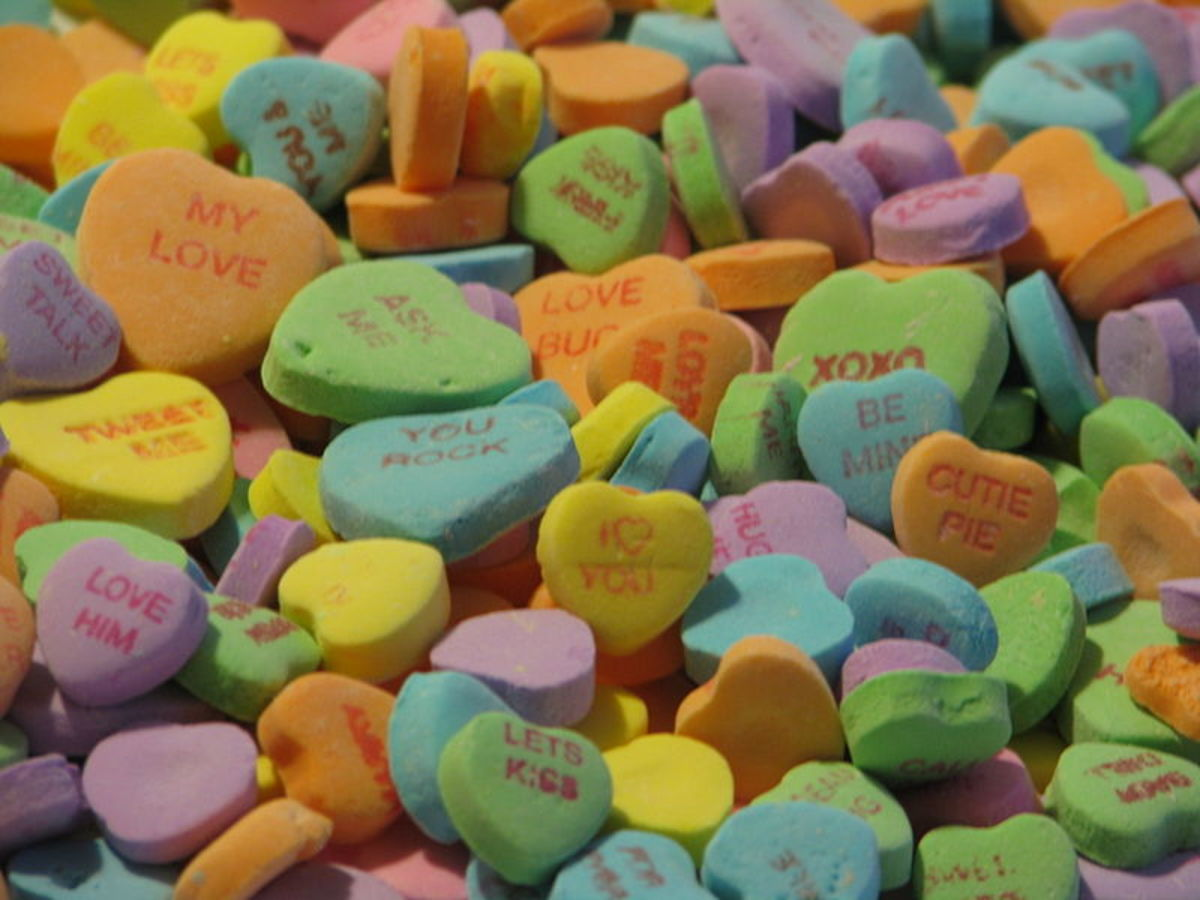 Candy hearts for Valentine's Day