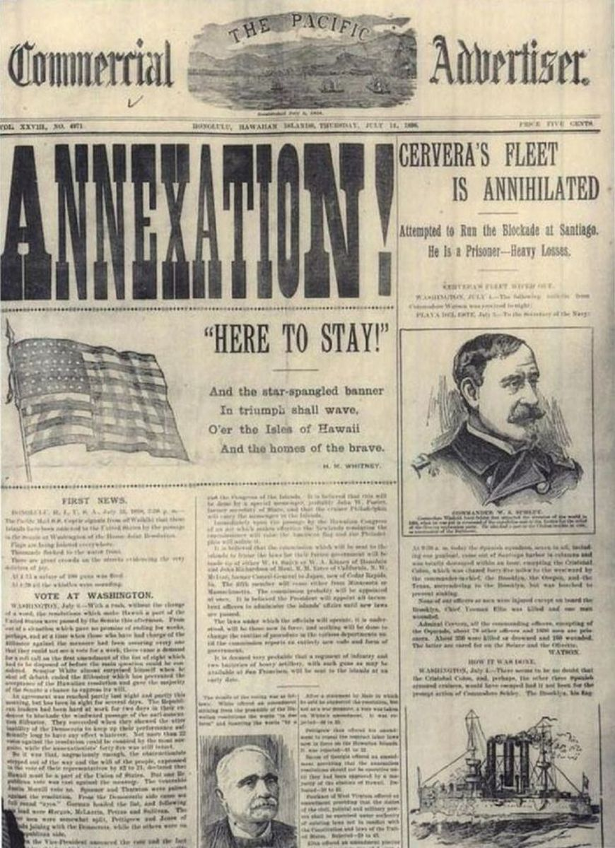 Newspaper about annexation of Hawaii