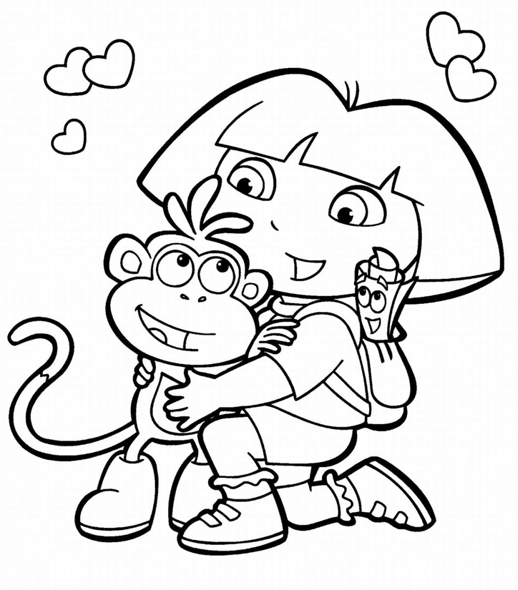 Free dora coloring pages for Dora and boots coloring page