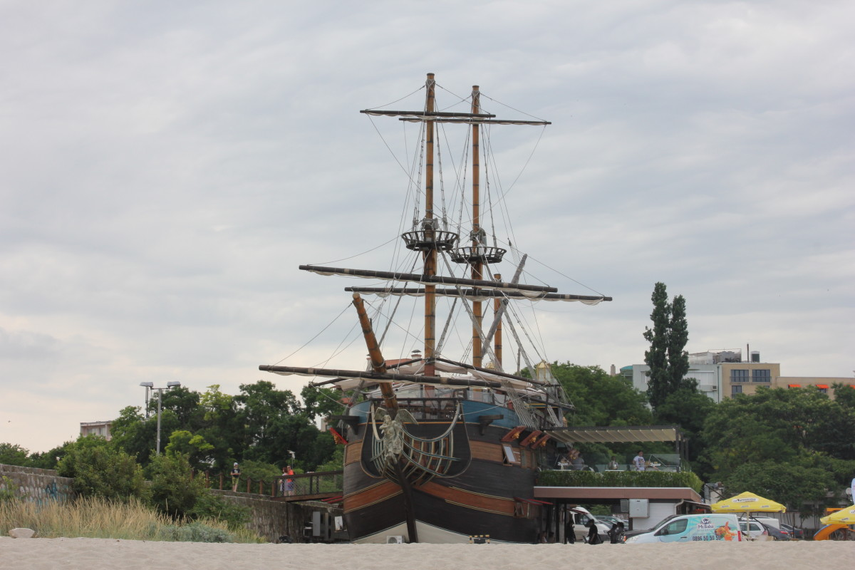 A pirate ship restaurant on the beach in Varna